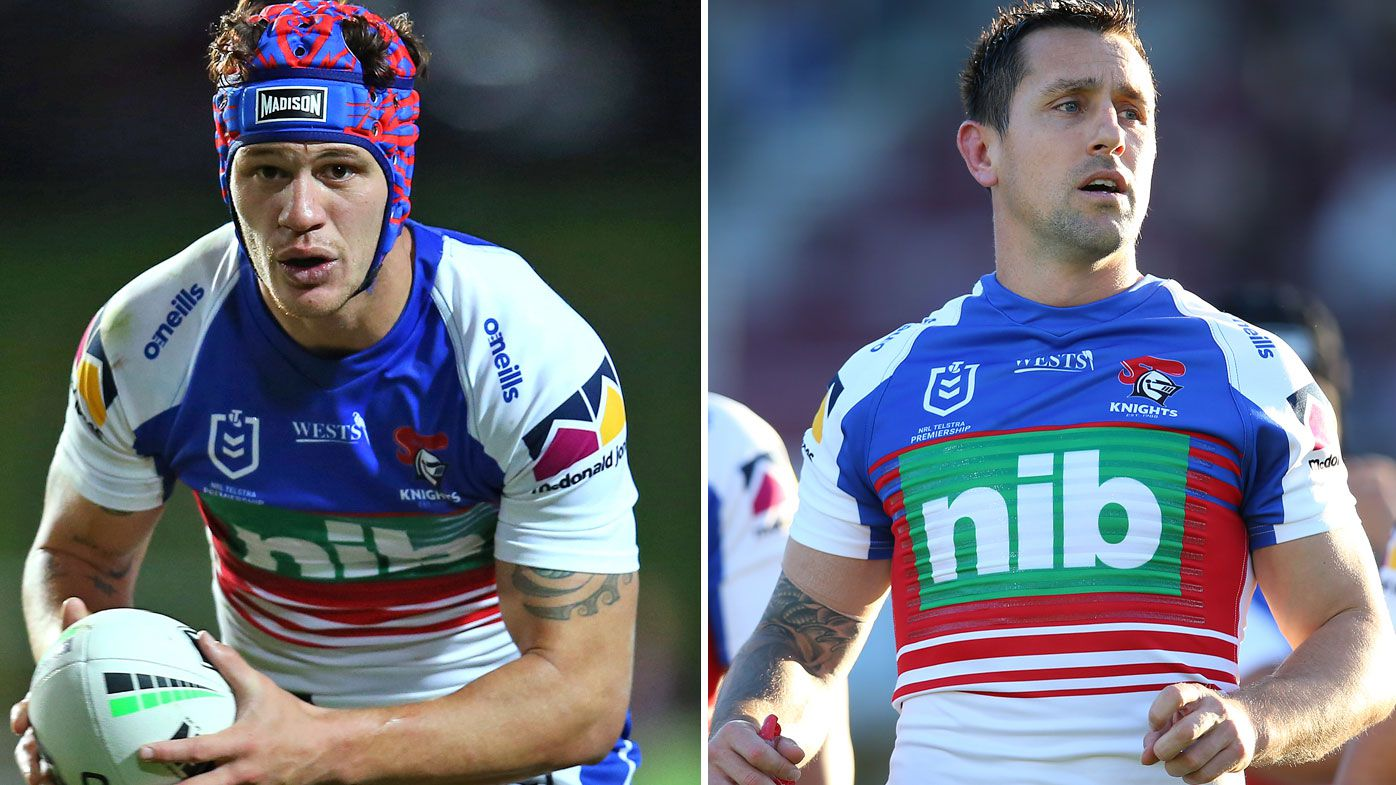 Kalyn Ponga and Mitchell Pearce of the Knights
