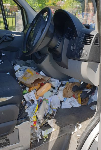 Driver fined for outrageously messy car