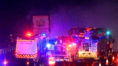 The truck fire shut down several lanes of the busy highway.