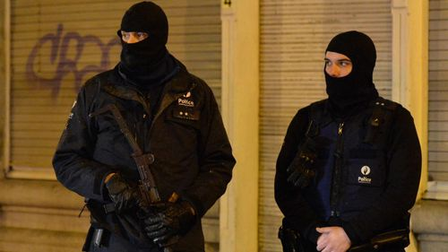 Police at the scene of the earlier raid in Verviers. (Getty Images)