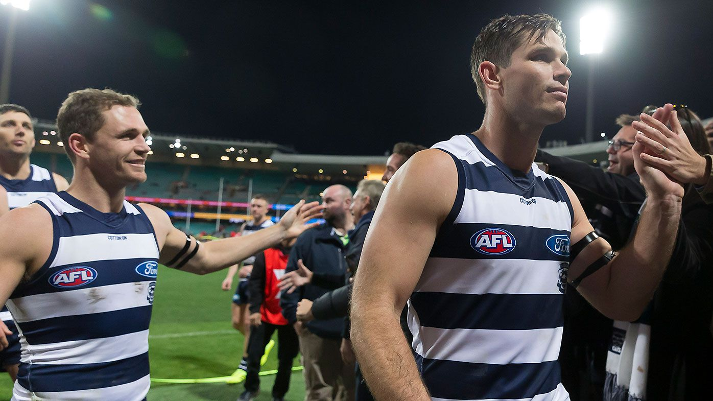 Tom Hawkins kicks five in milestone match as Geelong consolidates top spot on AFL ladder