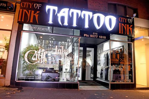 City of Ink tattoo parlour is located in South Melbourne. Picture: AAP