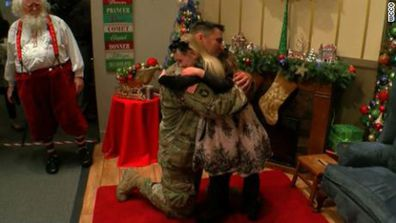 Reunited At Christmas.Military Personnel Reunite With Family For Christmas In