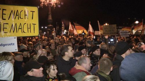 Thousands have rallied in Dresden in the latest anti-Islam march in Europe. (9NEWS)