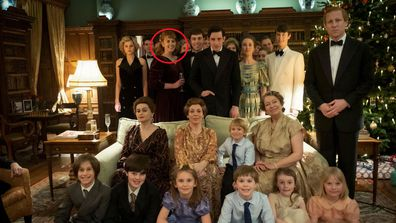 Fergie seen in a scene in The Crown showing the Royal Family at Christmas in Sandringham
