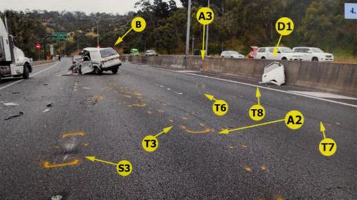 A photo of the crash site from the police investigation.