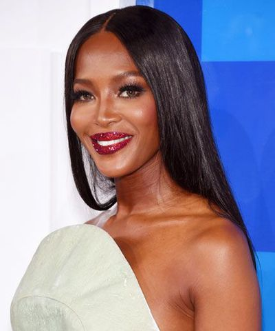 Naomi Campbell in a glitter lips from Pat McGrath