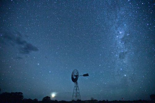 The Milky way makes its way over the Barkly Tableand at Newcastle waters station.
