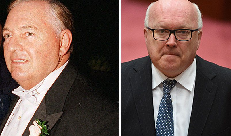 Senator Brandis (right) faced a grilling in parliament about a supposed deal with WA to allow the state, rather than the ATO to claw back $1 billion from Alan Bond's (left) collapsed Bell Group earlier this year. (AAP)