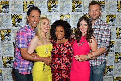 The cast of TV's <i>Community</i>: Danny Pudi, Gillian Jacobs, Yvette Nicole Brown, Allison Brie and Joel McHale.