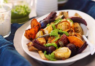 Roast vegetables with horseradish crème fraîche & rocket pesto