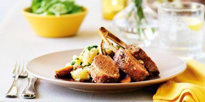 Roast rack of lamb with crushed potatoes and caramelised garlic