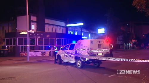 Dion Emin, 16, told 9News a man with a 20cm steak knife lodged in his chest collapsed outside of the Bellavista restaurant in East Perth.