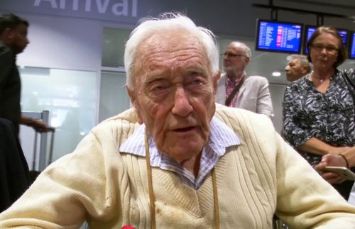 David Goodall answered reporters' questions after arriving at Basel's airport. (AAP)