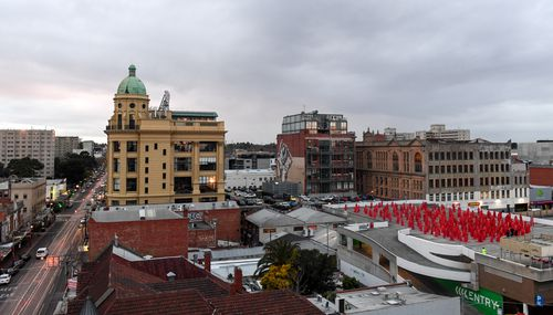 View from the top: Tunick's artwork was a bold pop of colour above Chapel Street. Picture: AAP