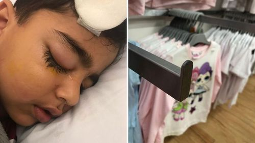 Five-year-old Saad almost lost the use of his eye after falling onto a hook at Target's Parramatta store.