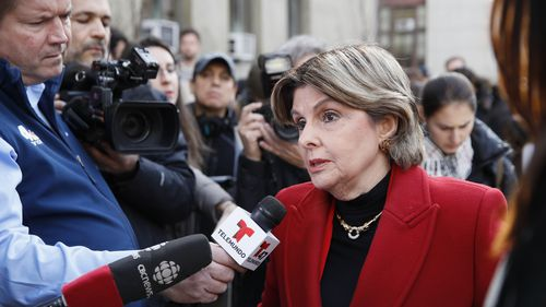 Women's rights attorney Gloria Allred speaks to reporters outside a Manhattan courthouse after the conviction of Harvey Weinstein in his rape trial.