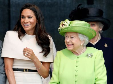 Meghan, Duchess of Sussex and Queen Elizabeth II attend a ceremony to open the new Mersey Gateway Bridge on June 14, 2018 in Widnes, England.
