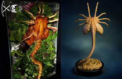 Thanksgiving edible Alien face-hugger feast roasted chicken
