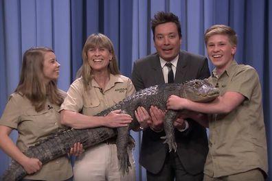 The Tonight Show Starring Jimmy Fallon, Jimmy Fallon, Robert Irwin, Terri Irwin and Bindi Irwin, hold alligator