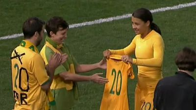 Samantha Kerr grateful to Matildas teammates after winning at Women in Sport awards