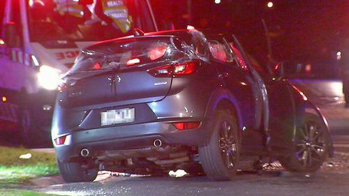 The Mazda had five people inside on impact.