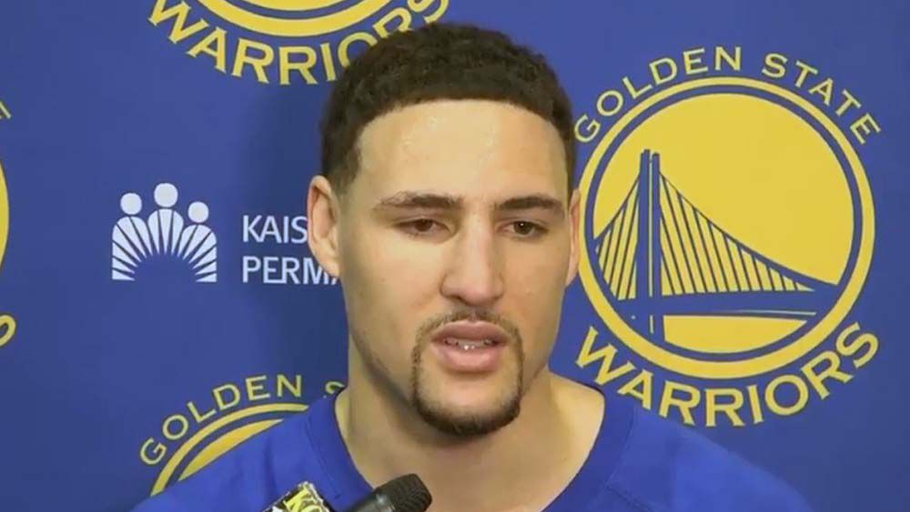 NBA star Klay Thompson freezes during interview