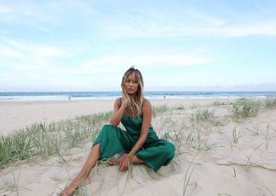 TV Presenter Renee Bargh looking beachside chic in Byron Bay in January, 2017