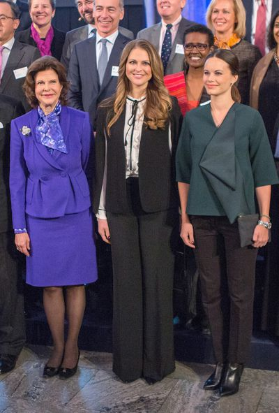 Queen Silvia of Sweden (l), Princess Madeleine of Sweden and Princess Sofia of Sweden (r), at the Global Child Forum at the Hall of State in the Royal Palace n Stockholm, Sweden, November, 2015