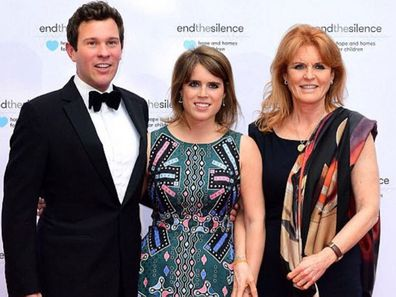 "Sarah ""Fergie"" Ferguson with daughter Eugenie and future son-in-law Jack Brooksbank"
