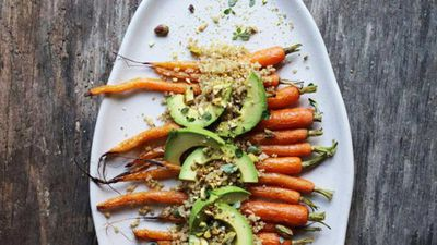 """Recipe: <a href=""""http://kitchen.nine.com.au/2017/10/17/09/29/roast-carrot-and-fermented-black-garlic-dukkah-sprouted-quinoa"""" target=""""_top"""">Roast carrot and fermented black garlic dukkah sprouted quinoa</a>"""
