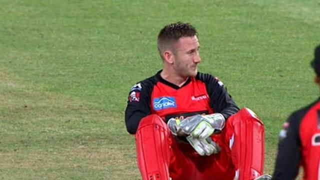 Nevill hit by return, forced off to take concussion test
