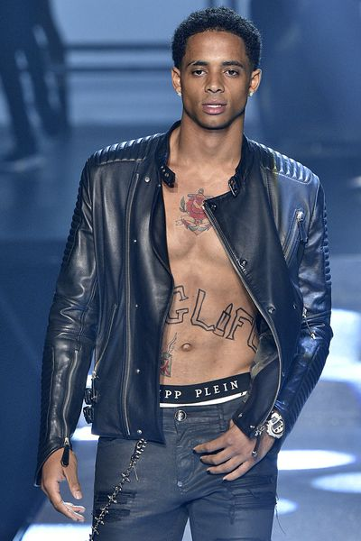 Cordell Broadus (the 20-year-old son of Snoop Dogg), Philipp Plein, New York Fashion Week, September 2017.