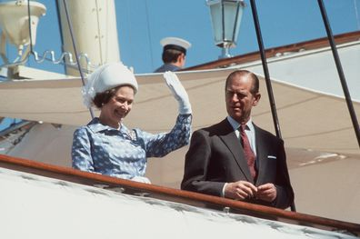 The Queen and Prince Philip on board Royal Yacht Britannia during 1979 visit to Kuwait
