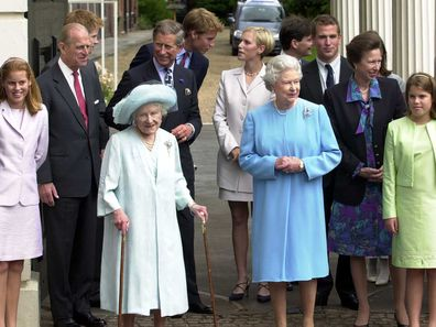 Queen Mother and Royal Family outside Clarence House on her 101st birthday.