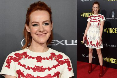 <i>Hunger Games</i> star Jena Malone opted for a casual look on the red carpet of the <i>St Vincent</i> New York premiere.
