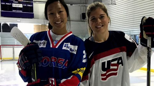 American sisters Marissa and Hanna Brandt compete in ice hockey - for Korea and the United States. (Supplied)