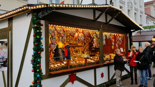 The Christmas market at Potsdam in Germany linked to a nail bomb alert. (Photo: AP).