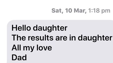 The text message Arron sent to Clare when he found out the results of the DNA test, showing he was her father.