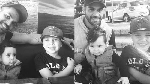 Inglis said Riley was the son of a woman he dated for a short time during a break in his relationship from his now wife Sally Robinson in 2009. (Instagram: @greg_inglis1)