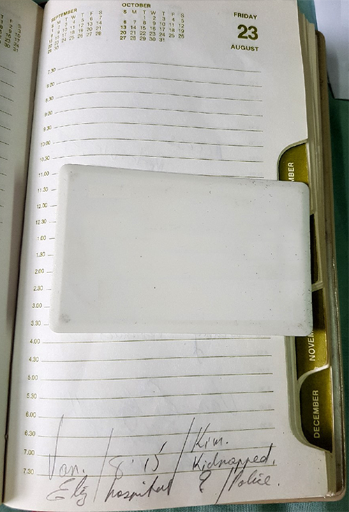 Luke Athens' notes in Kim's diary on the day she disappeared.