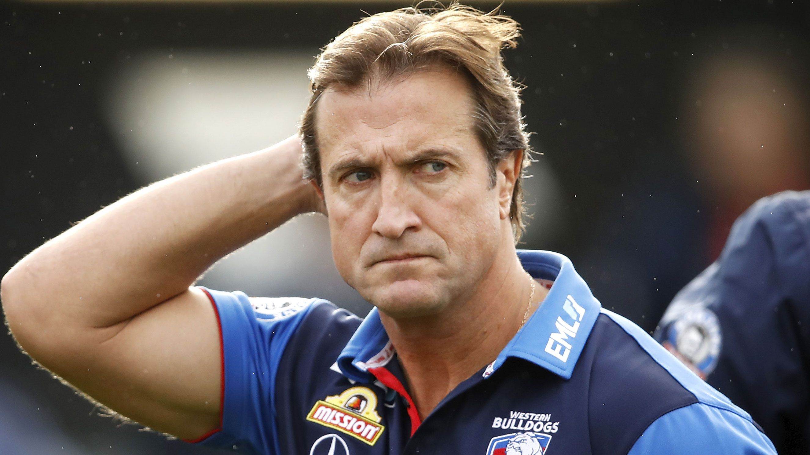 Western Bulldogs coach Luke Beveridge breaks down over Tom Boyd retirement