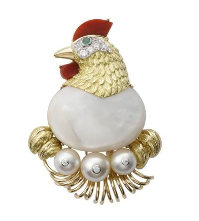 Cartier chicken brooch