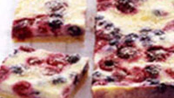 Raspberry and blueberry custard slice