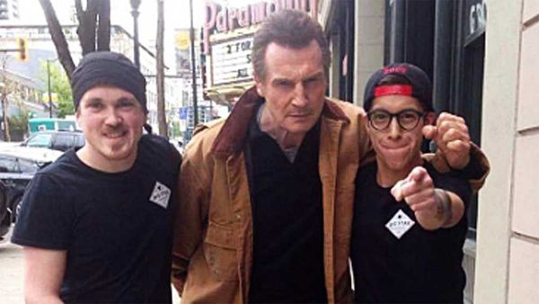 Liam Neeson responds to sign offer for free sandwiches at Canadian deli
