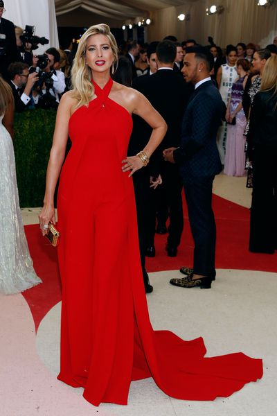 Ivanka Trump ignores the 2016 Met Gala theme <em>Manus x Machina: Fashion In An Age Of Technology, </em>wearing a custom Ralph Lauren jumpsuit and cape.