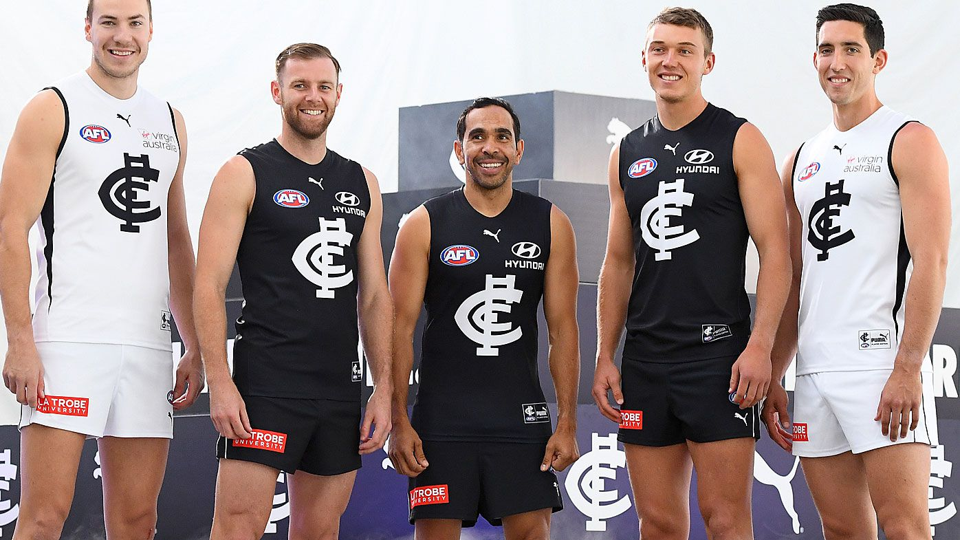 Harry McKay, Sam Docherty, Eddie Betts, Patrick Cripps and Jacob Weitering of the Blues pose during the Carlton Blues 2020 AFL playing kit reveal