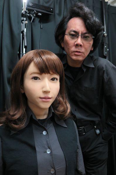 Professor Hiroshi Ishiguro from Osaka University with his android Erica