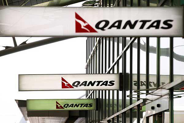 Qantas signs at airport