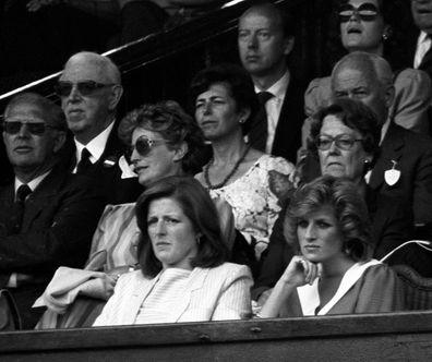 Lady Jane Fellowes and Princess Diana at Wimbledon.